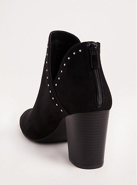 Black V-Cut Studded Ankle Bootie (Wide Width), BLACK, alternate