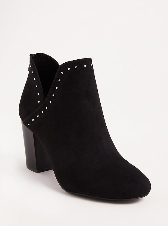 Black V-Cut Studded Ankle Bootie (Wide Width), , hi-res