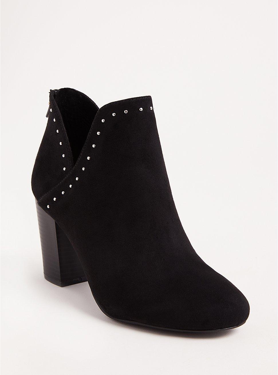 Black V-Cut Studded Ankle Bootie (Wide Width), BLACK, hi-res