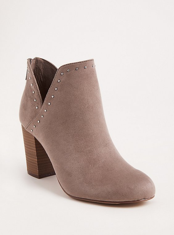 Plus Size Grey Faux Suede V-Cut Studded Bootie (WW), , hi-res