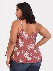 Sophie - Dusty Rose Floral Crisscross Double Layer Swing Cami, MULTI, alternate
