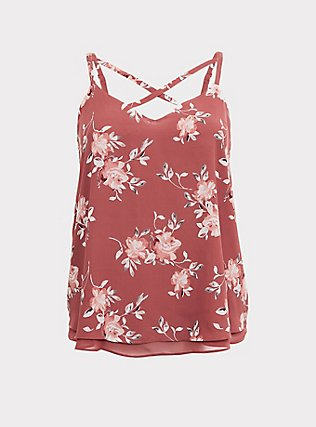 Sophie - Dusty Rose Floral Crisscross Double Layer Swing Cami, MULTI, flat