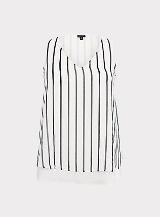 Plus Size White & Black Stripe Georgette Double Layer Swing Tank, MULTI, flat