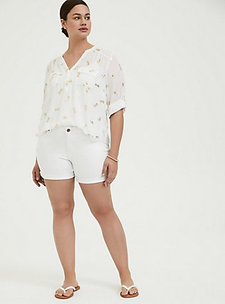 Denim Mid Short - Vintage Stretch White, OPTIC WHITE, alternate