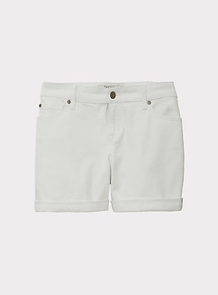 Denim Mid Short - Vintage Stretch White, OPTIC WHITE, flat