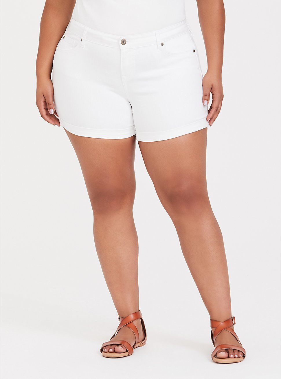 Plus Size Denim Mid Short - Vintage Stretch White, OPTIC WHITE, hi-res