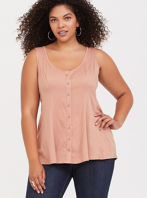 Peach Stretch Challis Fit & Flare Tie Tank, , hi-res