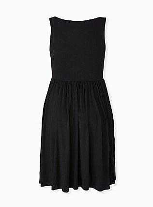Black Jersey Skater Dress, DEEP BLACK, alternate