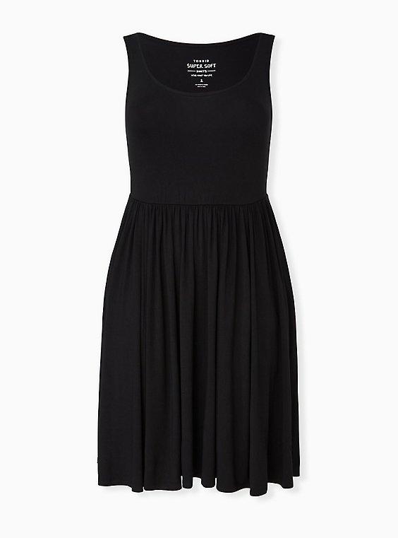 Black Jersey Skater Dress, , hi-res