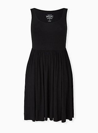 Black Jersey Skater Dress, DEEP BLACK, hi-res