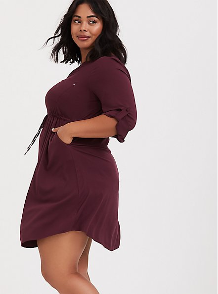 Burgundy Purple Zip Challis Shirt Dress, WINETASTING, alternate