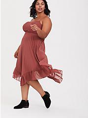 Plus Size Rose Pink Chiffon Lace Handkerchief Midi Dress, APPLE BUTTER PINK, alternate