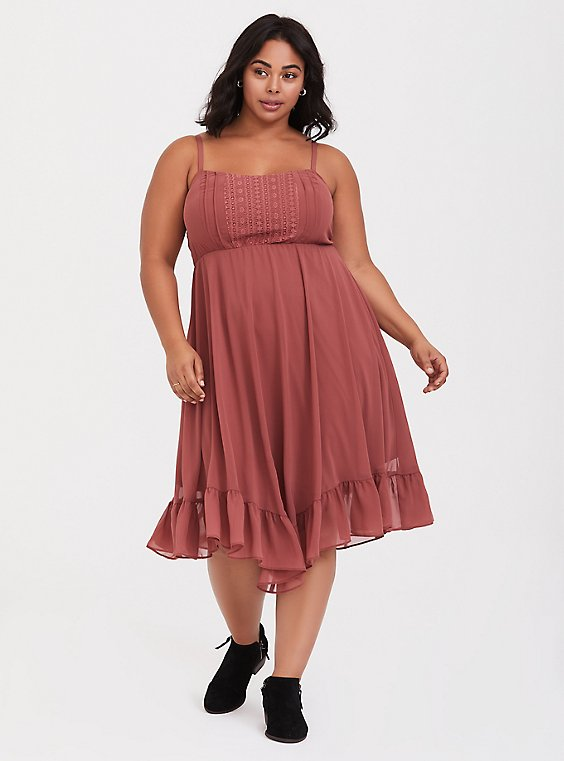 Plus Size Rose Pink Chiffon Lace Handkerchief Midi Dress, , hi-res