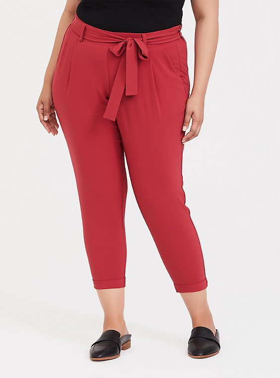 Tie-Front Tapered Pant - Dusty Red, , hi-res