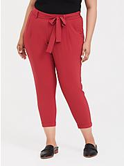 Tie-Front Tapered Pant - Dusty Red, RASPBERRY CORDIAL, hi-res