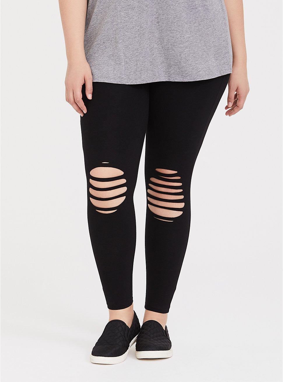 Premium Legging  - Slashed Knee Black, BLACK, hi-res