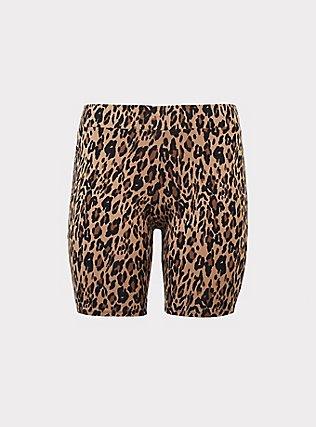 Plus Size Leopard Bike Short, MULTI, flat