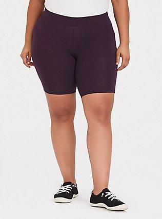 Plus Size Grape Purple Bike Short, PURPLE, hi-res