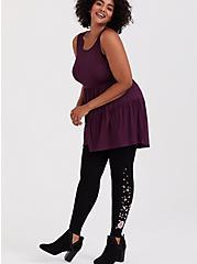 Premium Legging - Embroidered Floral Black, BLACK, alternate