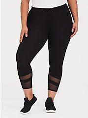 Crop Premium Legging - Mesh Insert Black, BLACK, hi-res