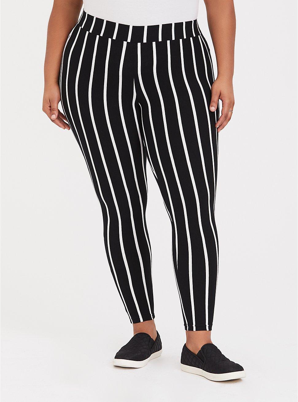 Premium Legging - Stripe Black & White, MULTI, hi-res