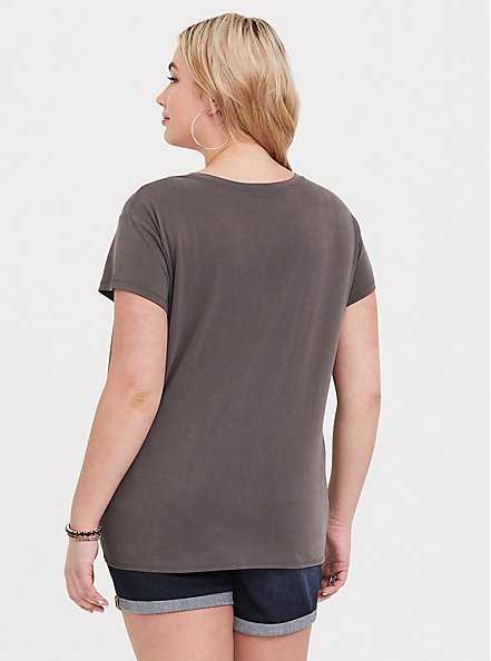 Plus Size Dark Taupe Side Knot Tee, TOFFEE BROWN, alternate
