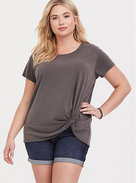 Plus Size Dark Taupe Side Knot Tee, TOFFEE BROWN, hi-res
