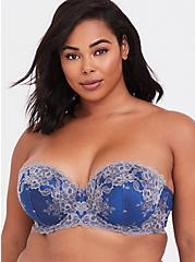Sapphire Blue & Grey Lace Strappy Push-Up Strapless Bra, LIMOGES BLUE, alternate
