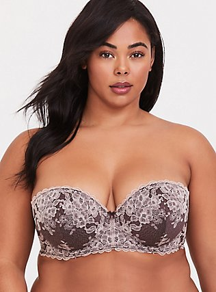 Plus Size Raisin Brown Lace Strappy Push-Up Strapless Bra, CHOCOLATE RAISIN BROWN, alternate