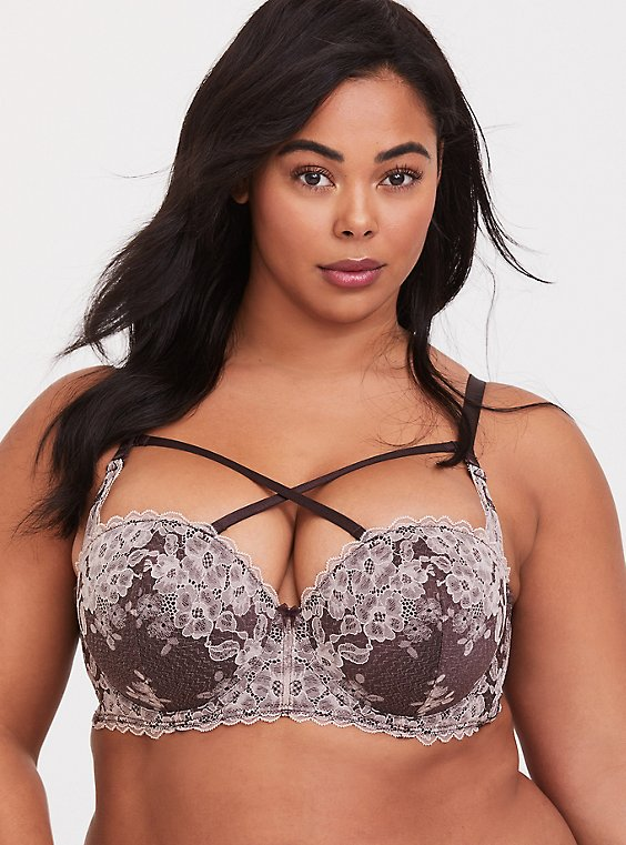 Raisin Brown Lace Strappy Push-Up Strapless Bra, , hi-res