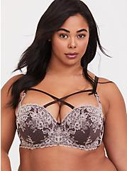 Raisin Brown Lace Strappy Push-Up Strapless Bra, CHOCOLATE RAISIN BROWN, hi-res