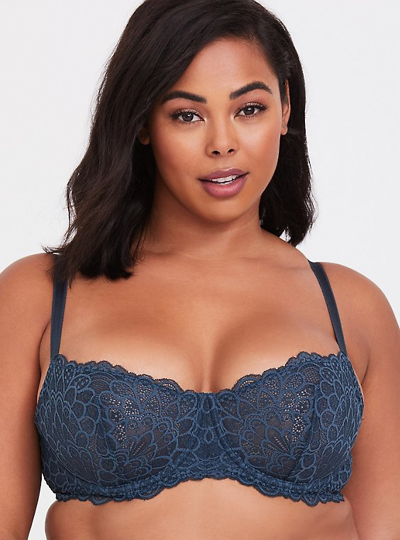 Dark Teal Lace Unlined Balconette Bra, , hi-res