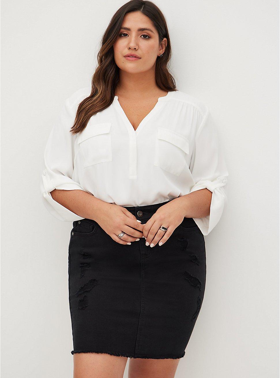 Mini Denim Skirt - Black, VINTAGE BLACK, hi-res