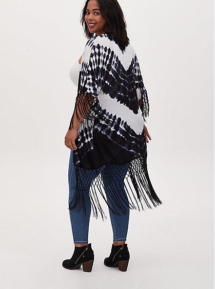 Black Tie-Dye Crepe Fringe Kimono, TIE DYE, alternate