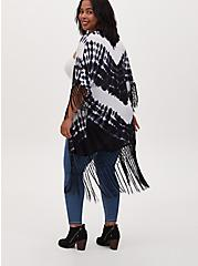 Plus Size Black Tie-Dye Crepe Fringe Kimono, TIE DYE, alternate
