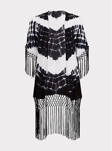 Black Tie-Dye Crepe Fringe Kimono, TIE DYE, hi-res