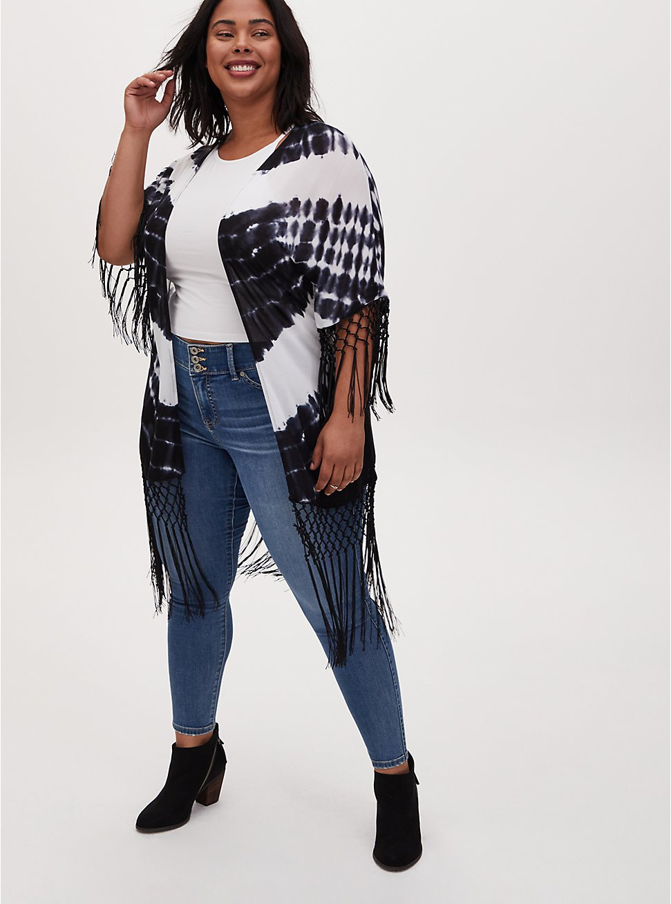 Plus Size Black Tie-Dye Crepe Fringe Kimono, TIE DYE, hi-res