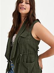 Olive Green Open Front Cargo Vest, DEEP DEPTHS, alternate