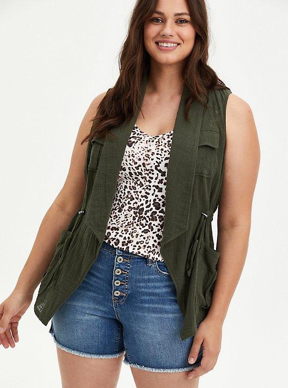 Olive Green Open Front Cargo Vest, , hi-res