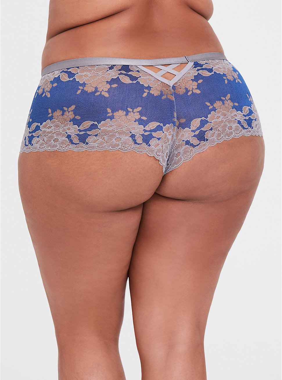 Sapphire Blue & Grey Lattice Back Lace Cheeky Panty, LIMOGES BLUE, hi-res