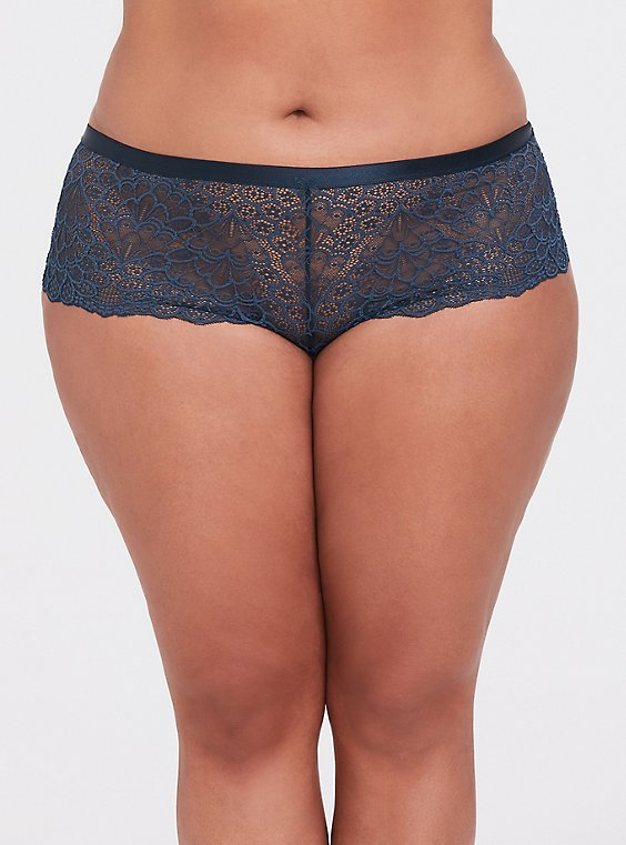 Plus Size Dark Teal Lace Cheeky Short, , hi-res
