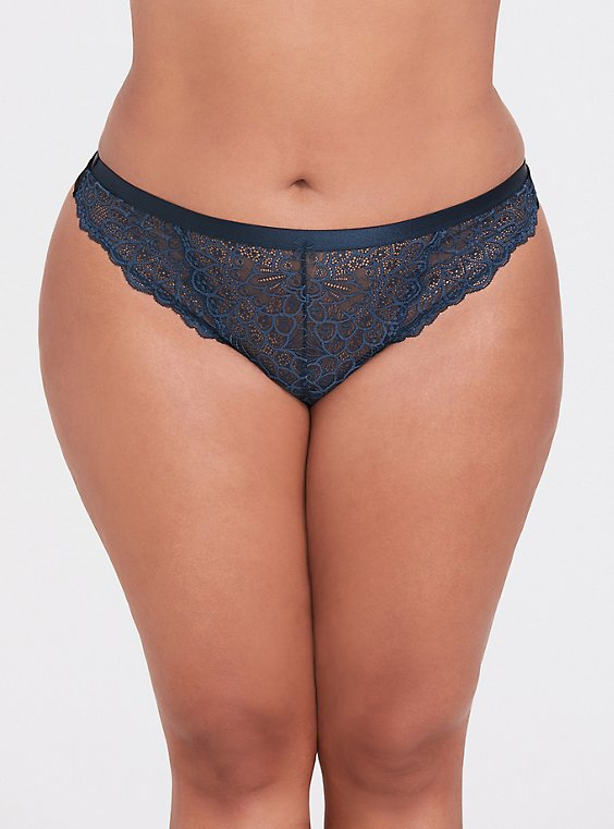 Plus Size Dark Teal Lace Thong Panty, , hi-res