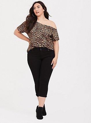 Leopard Off Shoulder Tee, LEOPARD, alternate