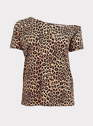 Leopard Off Shoulder Tee, LEOPARD, flat