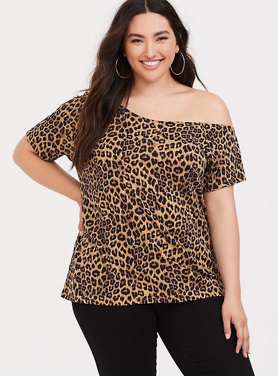 Leopard Off Shoulder Tee, , hi-res
