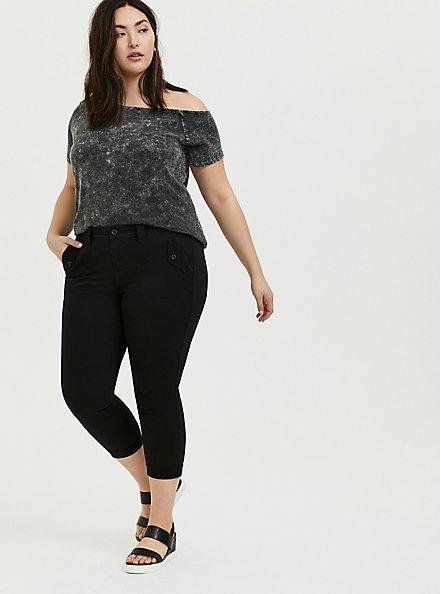 Plus Size Black Washed Slub Jersey Off Shoulder Tee, DEEP BLACK, alternate