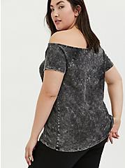 Black Washed Slub Jersey Off Shoulder Tee, DEEP BLACK, alternate