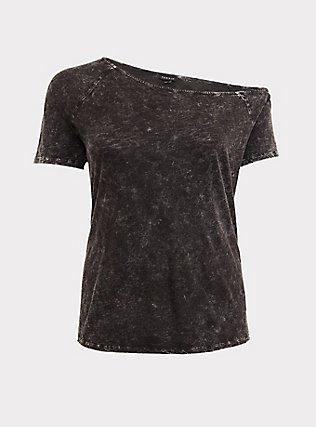Black Washed Slub Jersey Off Shoulder Tee, DEEP BLACK, flat