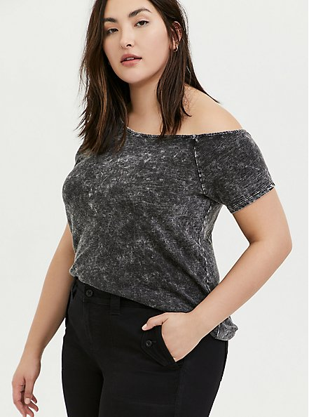 Plus Size Black Washed Slub Jersey Off Shoulder Tee, DEEP BLACK, hi-res