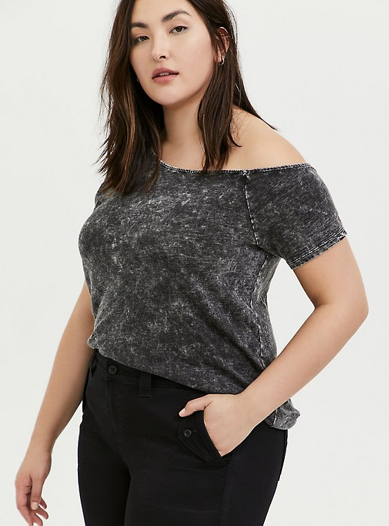 Black Washed Slub Jersey Off Shoulder Tee, DEEP BLACK, hi-res